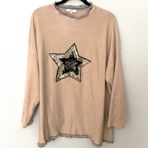 Easel Soft Sweater with Sequins Star